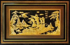 Chạm tranh đồng vàng thuyền buồm