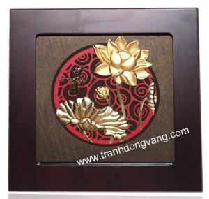 TRanh phù điêu hoa sen trang trí phòng khách,phòng thờ ý nghĩa