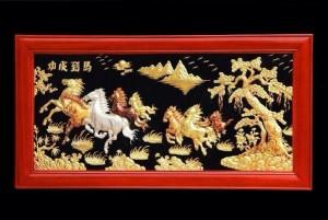 tranh đồng 9 con ngựa phong thủy