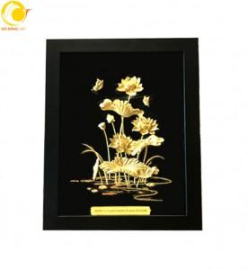 Tranh hoa sen dát vàng khung 27 34 cm quà tặng