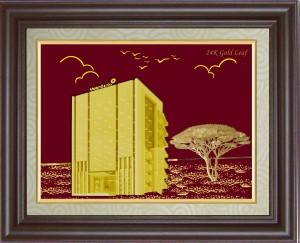 Tranh trụ sở bằng vàng 24k 3d, quà tặng trụ sở tòa nhà đẹp 3d