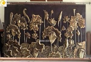bức phù điêu hoa sen lớn 3,2mx2,2m đồng tấm gò nổi khối