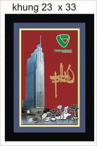 Tranh tòa tháp Vietcombank khung quà tặng cao cấp