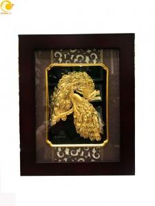 Tranh điiu uyên ương dát vàng 24k khung 27x34 cm