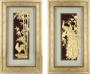 Tranh phong thủy dát vàng 24k treo phòng khách gia đình, biệt thự