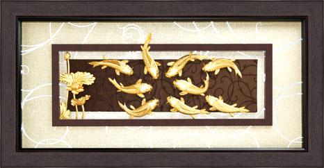 Tranh cá chép hoa sen vàng 24k đep mê hồn