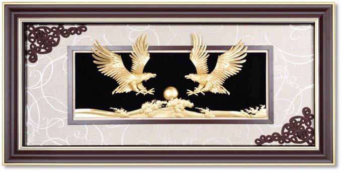 Bức tranh đại triển hồng hồ từ vàng 24k khung 60x120 cm