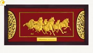 Tranh mã đáo thành công khung 60x120 cm vàng lá 24k tinh xảo làm quà kỷ niệm thành lập