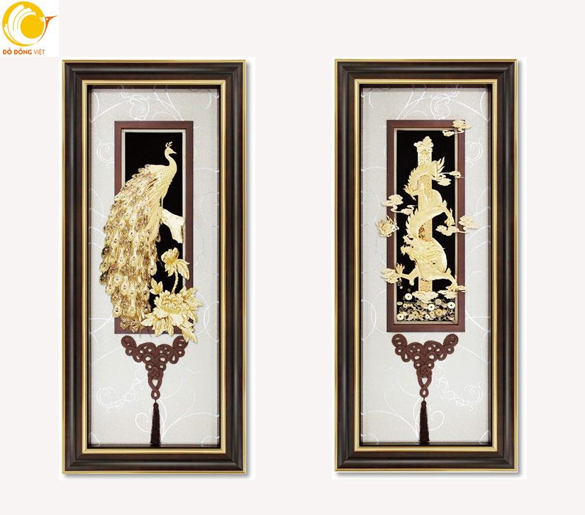 Tranh rồng phượng treo phòng khách 50x120 cm ý nghĩa